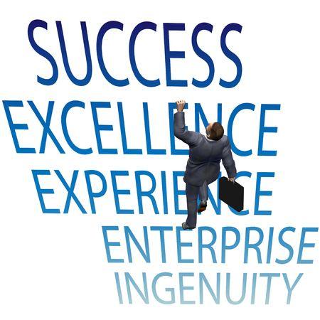 business man climbing success ladder